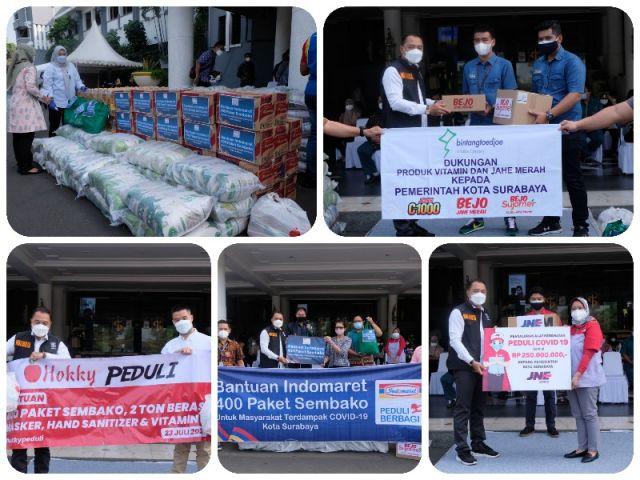 Bantuan Covid-19 terus Mengalir, Wali Kota Surabaya Eri Cahyadi Terima Donasi dari Lima Perusahaan Sekaligus