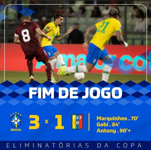 Sempat Kecolongan, Brasil Lumat Venezuela 1-3, Pertahankan Rekor tak Terkalahkan
