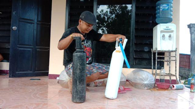 Polres Tulungagung Telisik Dugaan Tabung Oksigen Diisi Udara dari Kompresor Tambal Ban