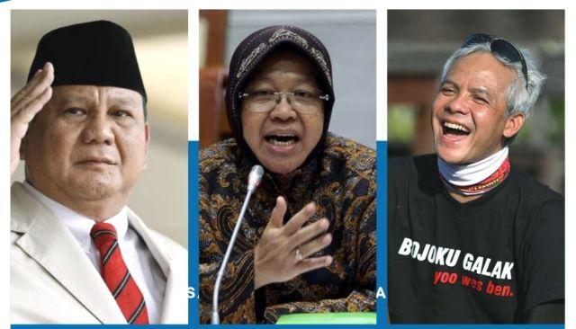 Bu Risma, Prabowo dan Ganjar Jadi Capres Favorit Millenial Jatim