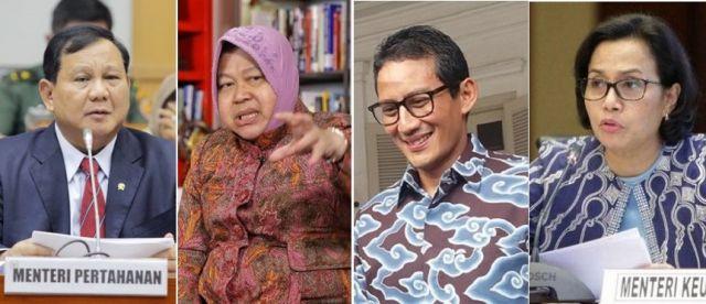 Millenial Puas dengan Kinerja Risma, Prabowo, Sandiaga dan Sri Mulyani