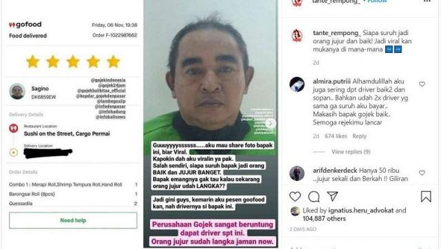 Driver Gojek Jujur Jadi Pembicaraan Netizen, Gegara Uang 50 Ribu